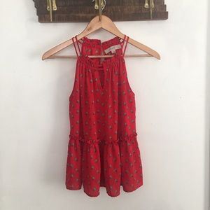 Red LOFT peplum style blouse
